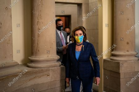Speaker of the House Nancy Pelosi (D-CA) walks out of her office at the U.S. Capitol Building on Friday, July 30, 2021 in Washington, DC. (Kent Nishimura / Los Angeles Times)