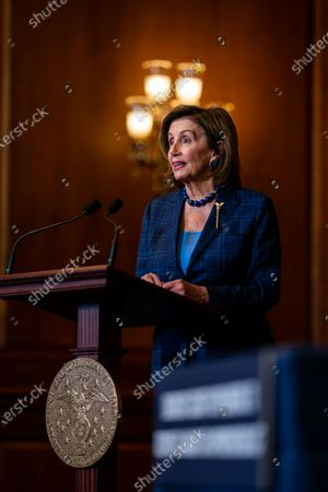 Speaker of the House Nancy Pelosi (D-CA) speaks during a bill enrollment ceremony for Security Supplemental to the January 6th Appropriation Act in the Rayburn Room of the U.S. Capitol Building on Friday, July 30, 2021 in Washington, DC. (Kent Nishimura / Los Angeles Times)