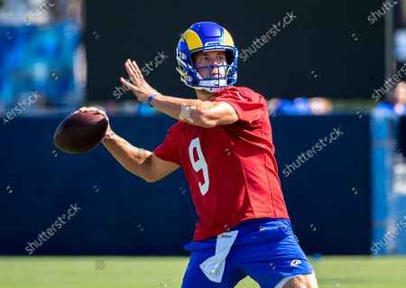 Rams starting quarterback Matthew Stafford makes a pass on the first day of training camp at UC Irvine on July 28, 2021 in Irvine, California.(Gina Ferazzi / Los Angeles Times)