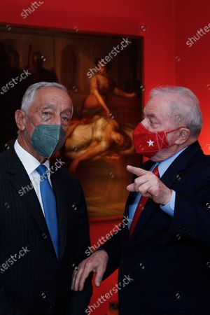 Portuguese President Marcelo Rebelo de Sousa (L) speaks with former President of Brazil, Lula da Silva (R), during their meeting in Sao Paulo, Brazil, 30 July 2021. The Portuguese President begins a four-day visit to Brazil, where he will take part in the re-inauguration ceremony of the Portuguese Language Museum, and has scheduled meetings with former Presidents Lula da Silva, Fernando Henrique Cardoso and Michel Temer, and Brazilian head of state, Jair Bolsonaro, as well as representatives of Sao Paulo's Portuguese community.
