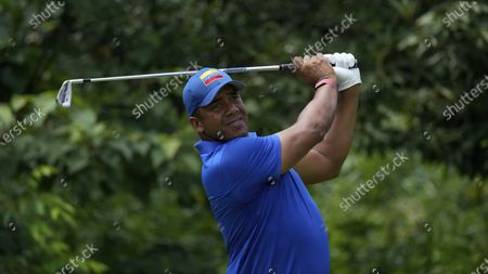 Jhonattan Vegas of Venezuela competes during the third round of the men's golf event at the 2020 Summer Olympics, in Kawagoe, Japan