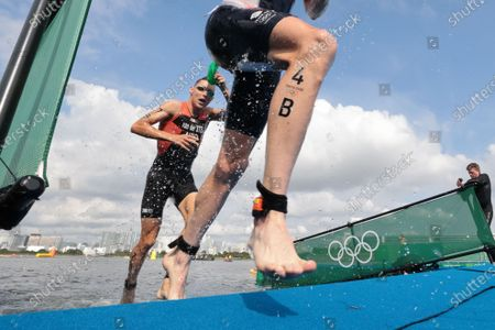 Jonathan Brownlee (GBR) exits the water - Triathlon : Mixed Relay during the Tokyo 2020 Olympic Games at the Odaiba Marine Park in Tokyo, Japan.