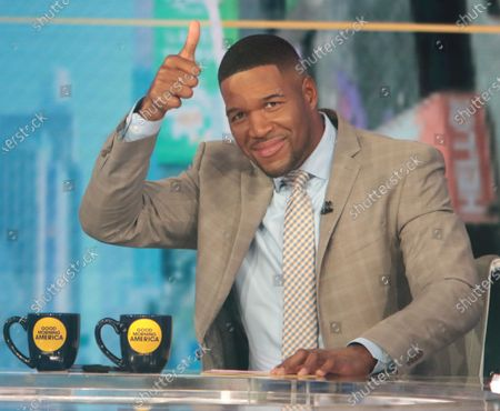 Stock Picture of Michael Strahan, on the set of Good Morning America
