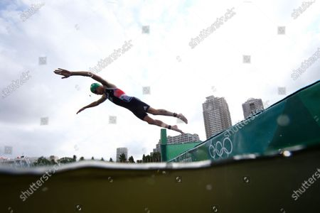 Jonathan Brownlee, of Britain, competes during the mixed relay triathlon at the 2020 Summer Olympics, in Tokyo, Japan