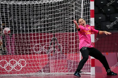 Spain's goalkeeper Silvia Navarro Gimenez fails to stop a ball during the women's preliminary round group B handball match between Hungary and Spain at the 2020 Summer Olympics, in Tokyo, Japan