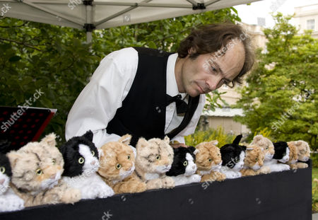 Stock Photo of Henry Dagg playing his organ of cats