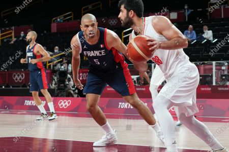 Stock Photo of Nicolas Batum of Team France during the men's preliminary round group A basketball match between Islamic Rep. of Iran and France during the Tokyo 2020 Olympic Games at the Saitama Super Arena in Saitama on July 31, 2021.