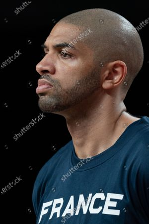 Nicolas Batum of Team France during the men's preliminary round group A basketball match between Islamic Rep. of Iran and France during the Tokyo 2020 Olympic Games at the Saitama Super Arena in Saitama on July 31, 2021.