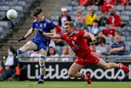 Monaghan vs Tyrone. Monaghan's Stephen O'Hanlon and Michael O'Neill of Tyrone