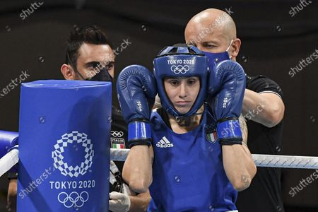 Irma Testa of Italy (in blu) during her bout against Nesthy Petecio of the Philippines in the Boxing Women's Feather (54-57kg) Semifinal of the Tokyo 2020 Olympic Games at Kokugikan Arena in Tokyo, Japan, 31 July 2021.