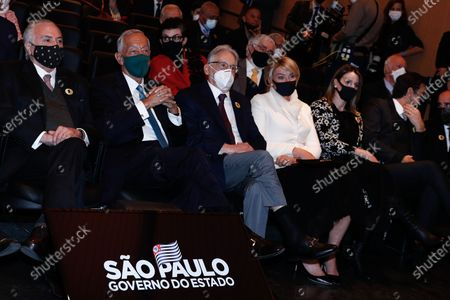 Stock Image of Portuguese President Marcelo Rebelo de Sousa (2L), with former Presidents of Brazil, Michel Telmer (L) and Fernando Henrique Cardoso (3L), during the re-inauguration ceremony of the Portuguese Language Museum in Sao Paulo, Brazil, 31 July 2021. The Portuguese President is in a four-day visit to Brazil, where he will take part in the re-inauguration ceremony of the Portuguese Language Museum, and has scheduled meetings with former Presidents Lula da Silva, Fernando Henrique Cardoso and Michel Temer, and current Brazilian President Jair Bolsonaro, as well as representatives of Sao Paulo's Portuguese community.