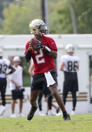 New Orleans Saints quarterback Jameis Winston (2) passes during NFL football training camp in Metairie