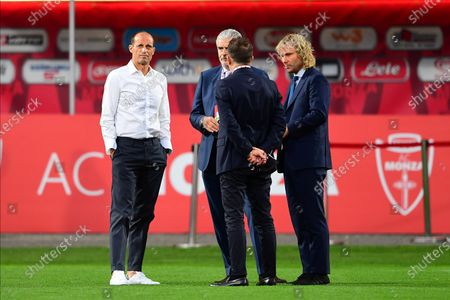 Stock Image of Head Coach Massimiliano Allegri of Juventus Turin with Juventus vice president Pavel Nedved and Juventus Turin AD Maurizio Arrivabene speak