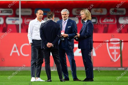 Stock Picture of Head Coach Massimiliano Allegri of Juventus Turin with Juventus vice president Pavel Nedved and Juventus Turin AD Maurizio Arrivabene speak