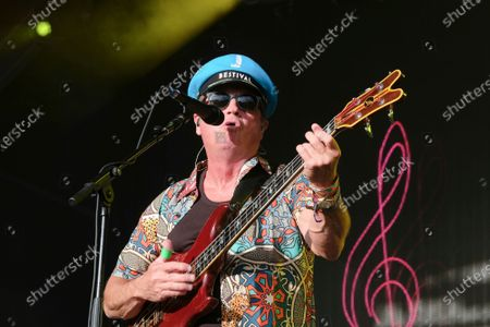 Stock Photo of Mark King vocalist and guitarist with the 1980s British New Wave band Level 42 perform during the Camp Bestival in Lulworth.