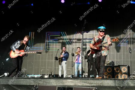 Stock Image of Mark King and Nathan King with the 1980s British New Wave band Level 42 perform during the Camp Bestival in Lulworth.