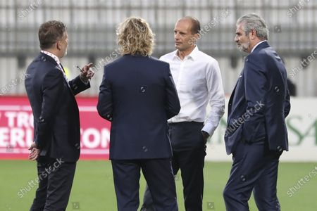 (L-R) Juventus football director Federico Cherubini, head coach Massimiliano Allegri, vice president Pavel Nedved and Maurizio Arrivabene talk before the Trofeo Berlusconi match between AC Monza and Juventus at Stadio Brianteo on July 31, 2021 in Monza, Italy.