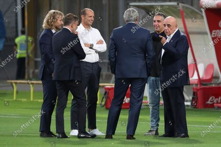 (L-R) vice president Pavel Nedved, Juventus football director Federico Cherubini, head coach Massimiliano Allegri, Maurizio Arrivabene and Adriano Galliani of AC Monza talk before the Trofeo Berlusconi match between AC Monza and Juventus at Stadio Brianteo on July 31, 2021 in Monza, Italy.