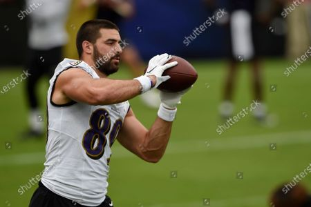Baltimore Ravens tight end Mark Andrews catches a pass during NFL football training camp, in Baltimore
