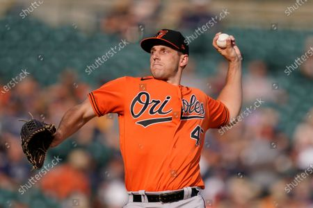 Baltimore Orioles starting pitcher John Means throws during the first inning of a baseball game against the Detroit Tigers, in Detroit
