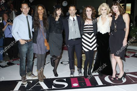 Stock Image of Blaine Zuckerman, Joy Bryant, Merle Ginsberg, George Kotsiopoulos, Jen Rade, Kelly Osborne and Brooke Dulien