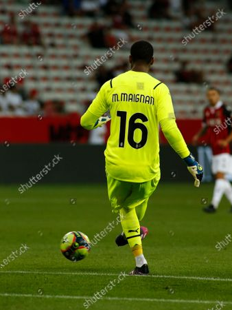 Stock Photo of Mike Maignan during friendly match between Nice and Milan in Nice, on July 31, 2021.