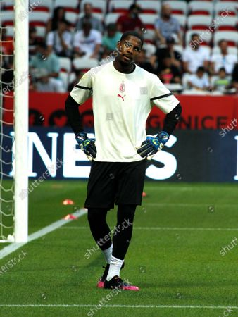 Stock Picture of Mike Maignan during friendly match between Nice and Milan in Nice, on July 31, 2021.