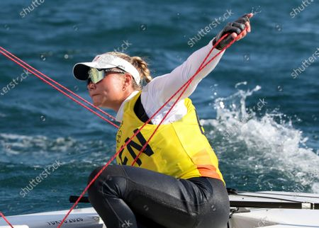 Winner Anne-Marie Rindom of Denmark competes during the medal race in the Women's One Person Dinghy Laser Radial during the Sailing events of the Tokyo 2020 Olympic Games in Enoshima, Japan, 01 August 2021.
