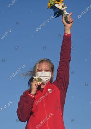 Stock Image of (210801) - KANAGAWA, Aug 1, 2021 (Xinhua) - Gold medalist Anne-Marie Rindom of Denmark celebrates during the awarding ceremony for the women's one person dinghy laser radial of the sailing competition at the Tokyo 2020 Olympic Games in Kanagawa, Japan, Aug 1, 2021.