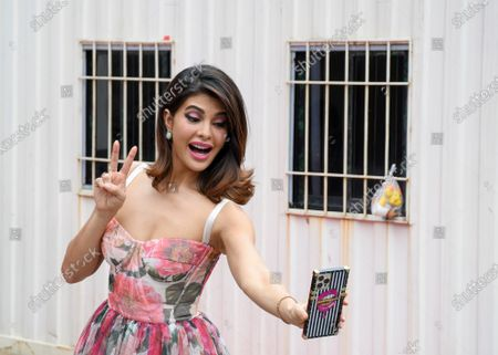 Stock Image of Bollywood actress Jacqueline Fernandez takes a selfie