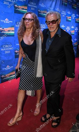 Stock Picture of Harvey Keitel with his wife Daphna Kastner.