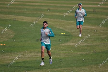 Australia's  Cricket Player  Moises Henriques during practice session at Sher e Bangla National Cricket Stadium in Dhaka, Bangladesh on August 1, 2021. ahead of their T20 cricket match against Bangladesh.