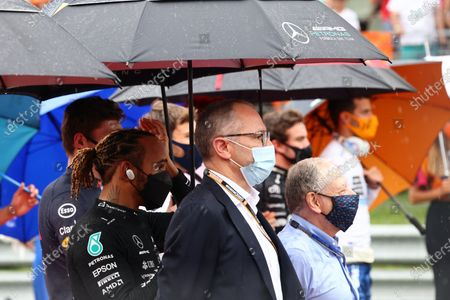 Sir Lewis Hamilton, Mercedes, Stefano Domenicali, CEO, Formula 1, and Jean Todt, President, FIA, on the grid during the 2021 Formula One Hungarian Grand Prix