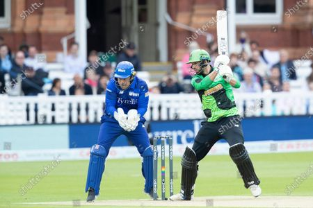 James Vince, Southern Brave drives through cover point during London Spirit Men vs Southern Brave Men, The Hundred Cricket at Lord's Cricket Ground on 1st August 2021