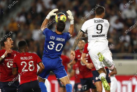 Lille's goalkeeper Leonardo Jardim (C) in action against Mauro Icardi (R) of PSG during the French Supercup Trophee des Champions soccer match between Lille OSC and Paris Saint-Germain (PSG) at the Bloomfield Stadium in Tel Aviv, Israel, 01 August 2021.