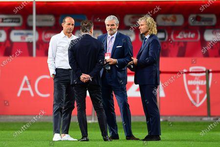 Head Coach Massimiliano Allegri of Juventus Turin with Juventus vice president Pavel Nedved and Juventus Turin AD Maurizio Arrivabene speak