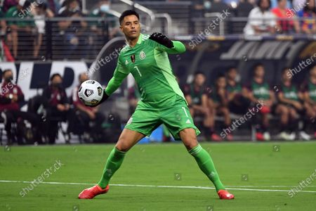 Stock Picture of Mexico goalkeeper Alfredo Talavera looks to pass the ball against the United States during the first half of the CONCACAF Gold Cup final soccer match, in Las Vegas