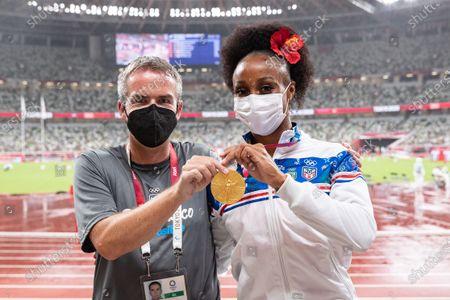 Women's 100m Hurdles . Porto Rico's Jasmine Camacho-Quinn with her gold medal and Irish coach John Coghlan
