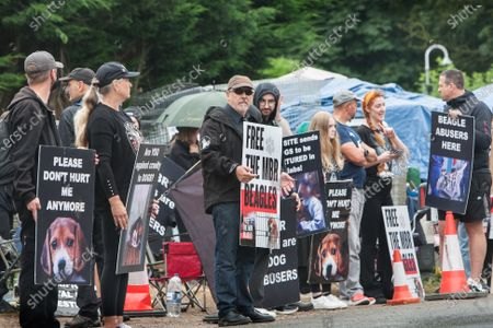 Editorial photo of Camp Beagle protest in Huntingdon, UK - 01 Aug 2021