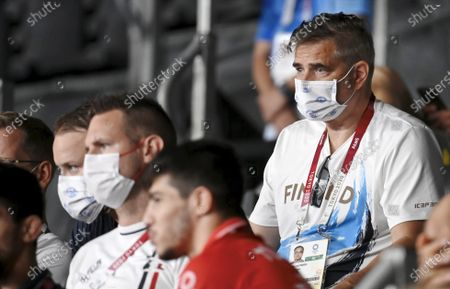 Mika Lehtimäki of Finnish Olympic Committee watching men's greco-roman 130kg wrestling at the Tokyo Summer Olympic Games in the Makuhari Messe Hall, on August 2, 2021.