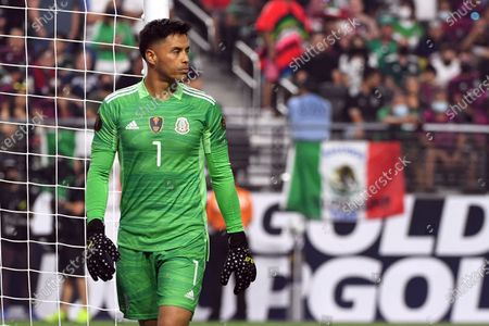 Mexico goalkeeper Alfredo Talavera (1) looks on during the CONCACAF Gold Cup final soccer match against the United States, in Las Vegas