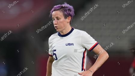 United States' Megan Rapinoe controls the ball during a women's semifinal soccer match against Canada at the 2020 Summer Olympics, in Kashima, Japan