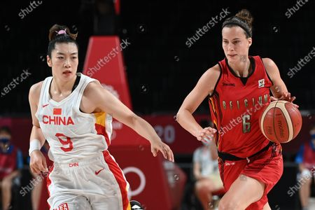 China's Meng Li and Belgian Cats Antonia Tonia Delaere fight for the ball during a basketball game between Belgium's Belgian Cats and China, in the women's preliminary round group C, fourth and last game, on the day 11 of the 'Tokyo 2020 Olympic Games' in Tokyo, Japan on Monday 02 August 2021. The postponed 2020 Summer Olympics are taking place from 23 July to 8 August 2021.