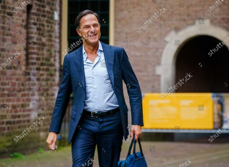Dutch outgoing Prime Minister Mark Rutte arrives at the Binnenhof for a consultation about the coronavirus crisis, in The Hague, The Netherlands, 02  August 2021. The cabinet is discussing, among other things, whether one-day festivals can continue after mid-August.