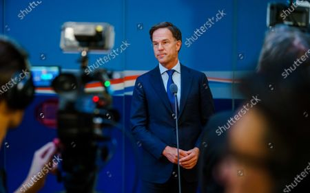 Dutch outgoing Prime Minister Mark Rutte addresses the press, after a consultation on the coronavirus crisis at the Ministry of General Affairs in The Hague, The Netherlands, 02 August 2021. One-day festivals will be allowed to continue after 13 August, but under strict conditions.