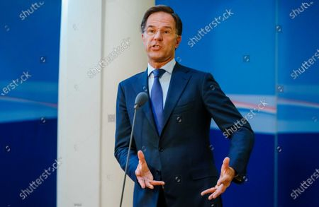 Stock Image of Dutch outgoing Prime Minister Mark Rutte addresses the press, after a consultation on the coronavirus crisis at the Ministry of General Affairs in The Hague, The Netherlands, 02 August 2021. One-day festivals will be allowed to continue after 13 August, but under strict conditions.