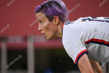 (210802) - IBARAKI, Aug 2, 2021 (Xinhua) - Megan Rapinoe of the United States reacts during the women's football semifinal match between the United States and Canada at Tokyo 2020 Olympic Games in Ibaraki, Japan, Aug 2, 2021.