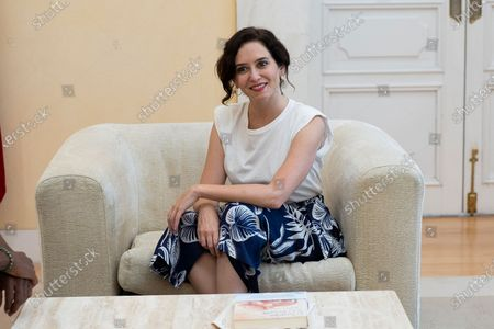 President of the Community of Madrid, Isabel Diaz Ayuso seen during a meeting with Cuban artist Yotuel Romero at the Real Casa de Correos in Madrid. Yotuel is the composer of 'Patria y Vida', a song whose title has become the slogan of the protests of the Cuban people against the ruling regime.