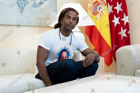 Cuban artist Yotuel Romero seen during a meeting with President of the Community of Madrid, Isabel Diaz Ayuso at the Real Casa de Correos in Madrid. Yotuel is the composer of 'Patria y Vida', a song whose title has become the slogan of the protests of the Cuban people against the ruling regime.