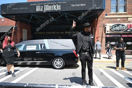 Montell Jordan attends the funeral for Marcel Theo Hall a/k/a Biz Markie at the Patchogue Theatre for the Performing Arts in New York.